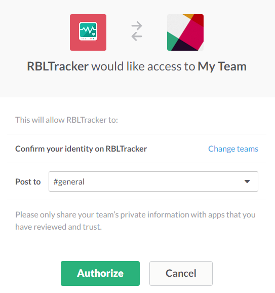 Slack Authorization Dialog